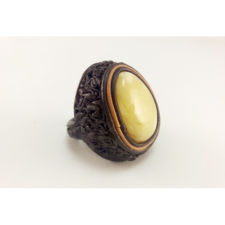 "Brown leather ring with white amber ""Nut"""