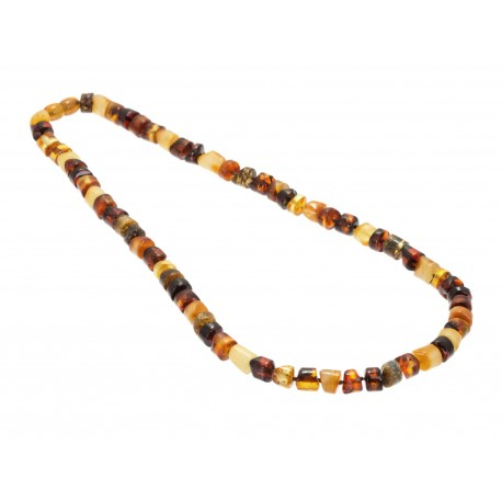 Multicoloured amber necklace