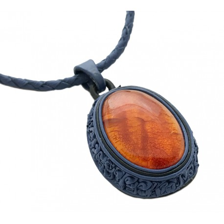 "Blue leather necklace with cognac amber ""Seaside"""