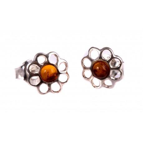 Silver earrings with light amber eye