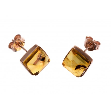 Auksiniai auskarai su inkliuzu