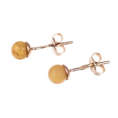 Auksiniai auskarai su geltonu gintaru