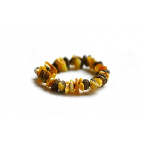 Yellowish-white and black amber bracelet