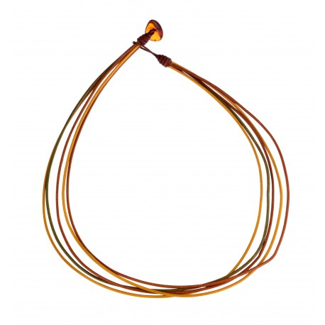 Leather strap with amber clasp
