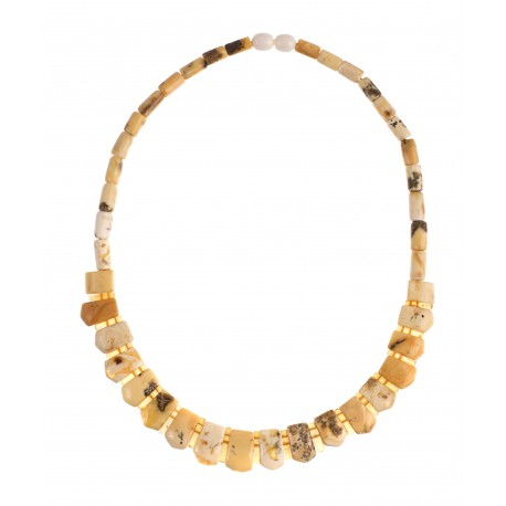 Necklace of the matted royal white amber combined with yellowish-shaded transparent and matted amber pieces