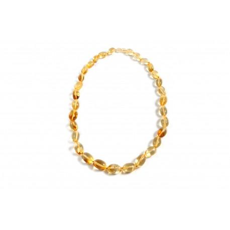 Transparent lemon-color amber necklace