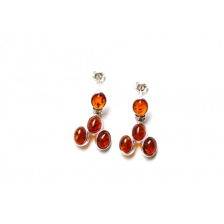 "Silver-amber earrings ""Cherry Wine"""