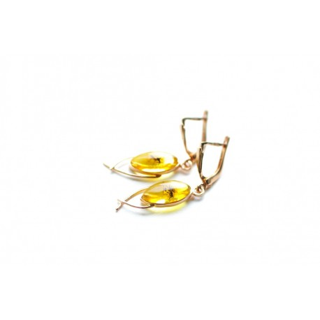 Golden earrings with inclusions