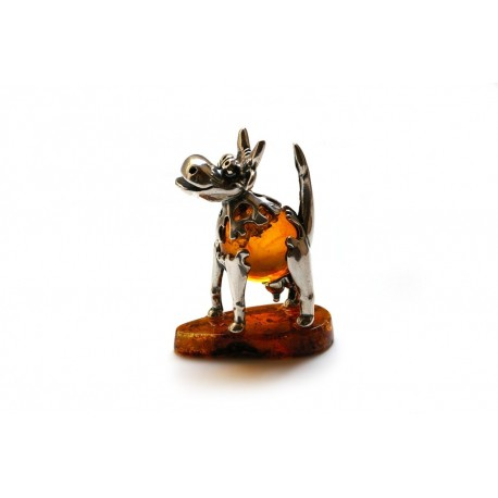 "Silver-amber figurine ""Little Cow"""