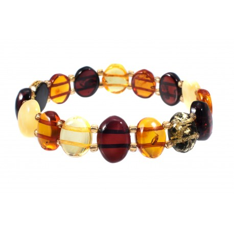 Multicolored amber bracelet