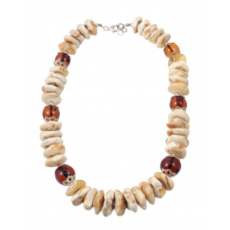 White Baltic amber necklace