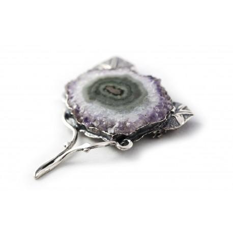 Unique silver brooch-pendant with amethyst