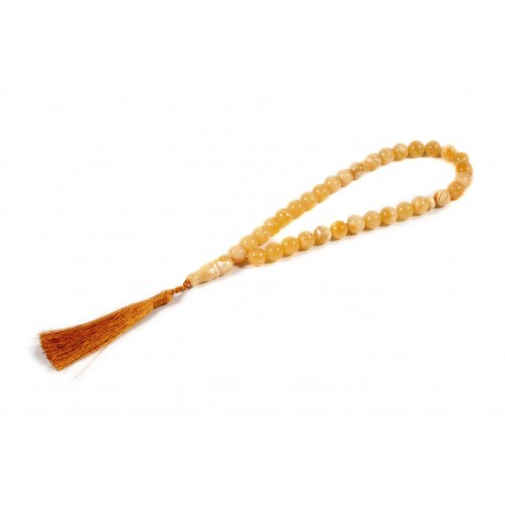 Yellow amber Muslim rosary