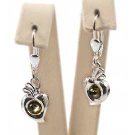 Silver earrings with green amber eye