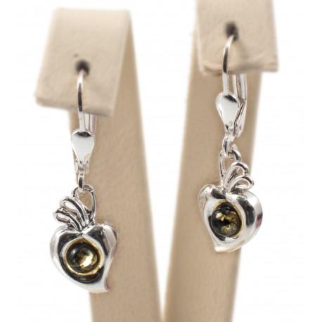 Silver earrings with green amber eye