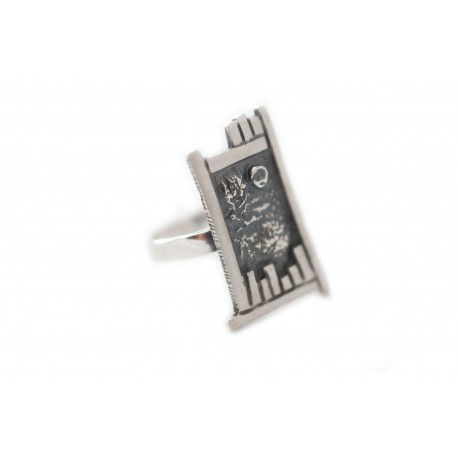 Burnished silver ring