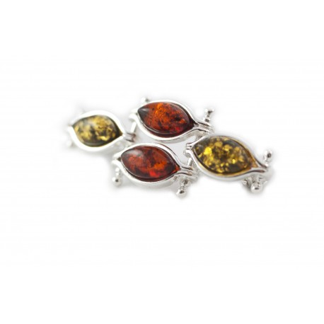 Silver brooch with green and cognac-colored amber