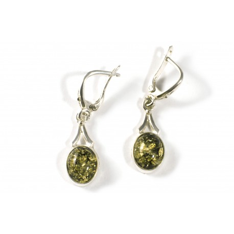 Silver earrings with green amber