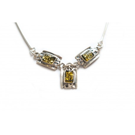 Silver necklace with green amber