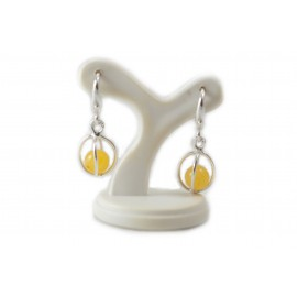 "Silver earrings with amber ""Protection"""