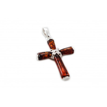 Silver Cross With Cognac Amber