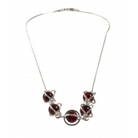 Silver necklace with cherry-color amber
