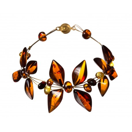 Light cognac amber bracelet