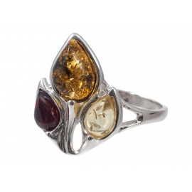 Silver-amber ring