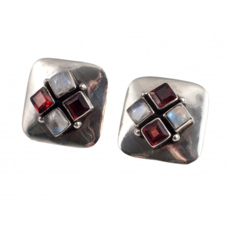 Silver square-shaped earrings
