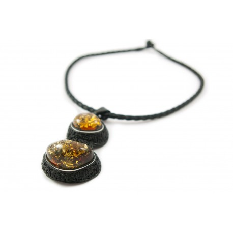 Black leather necklace with yellowish-green amber