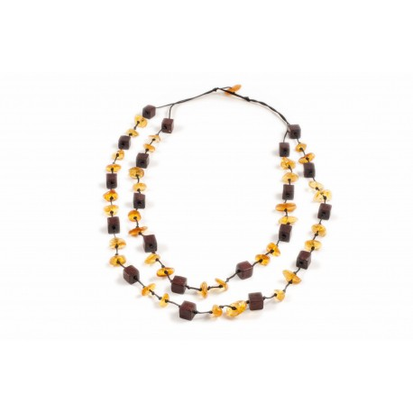 "Wood-amber necklace ""Ethno"""