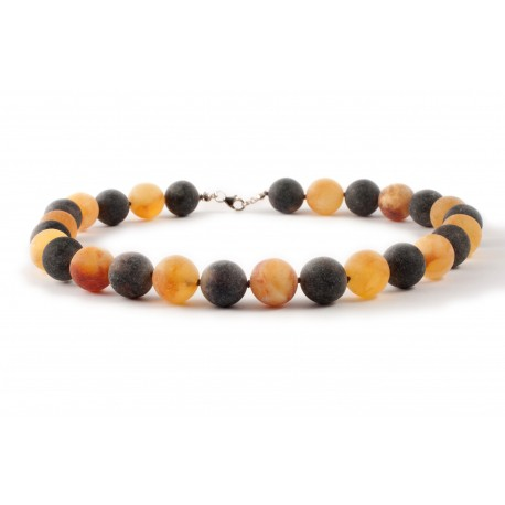 Black and transparent-yellow amber necklace