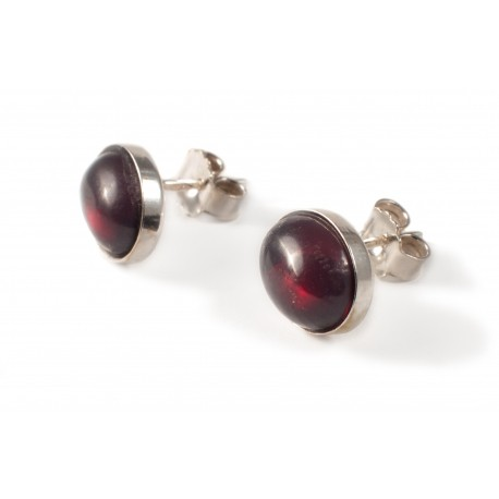 Silver earrings with cherry amber