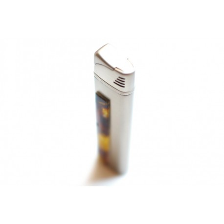 Lighter decorated with amber