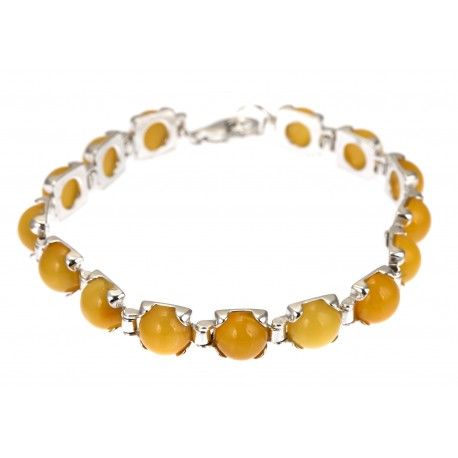 Silver bracelet with yellow amber