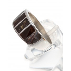 Silver ring with dark brown amber
