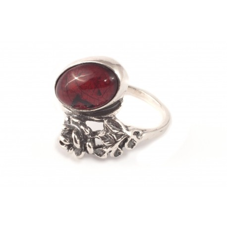 Silver ring with cherry amber