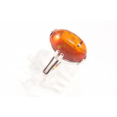 Silver ring with cognac amber