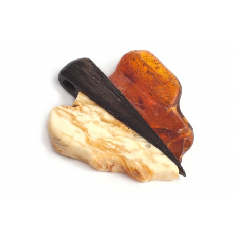 Wooden pendant with white and cognac-color amber