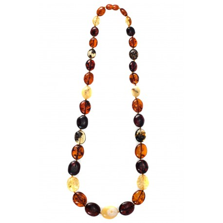 Classical, multicolored amber necklace