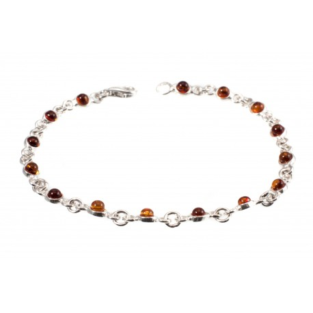 Silver bracelet with cognac amber