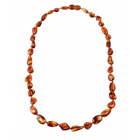Clear cognac amber necklace