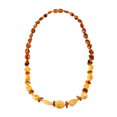 Necklace with yellow and cognac amber