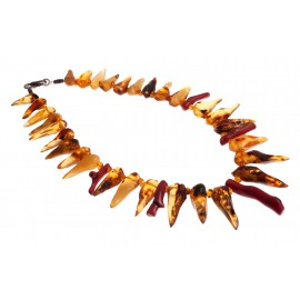 Unique necklace with amber and coral
