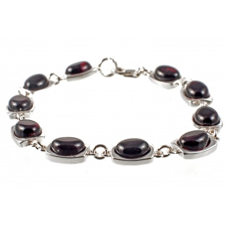 Silver bracelet with cherry amber