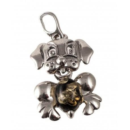 "Silver-amber pendant ""Dog"""