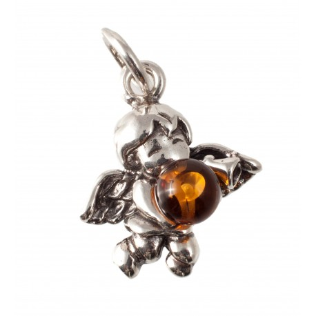 "Silver-amber pendant ""Angel"""