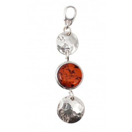 """Silver pendant with amber """"Contrasts"""""""