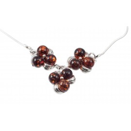 "Amber-silver necklace ""Dew Droplets"""