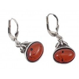 "Silver-amber earrings ""Security"""